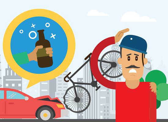 Accidente de bicicleta por embriaguez